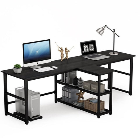 Long Two Person Computer Desk with Storage Shelves