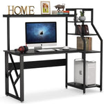 Computer Desk with 4-Tier Storage Shelves