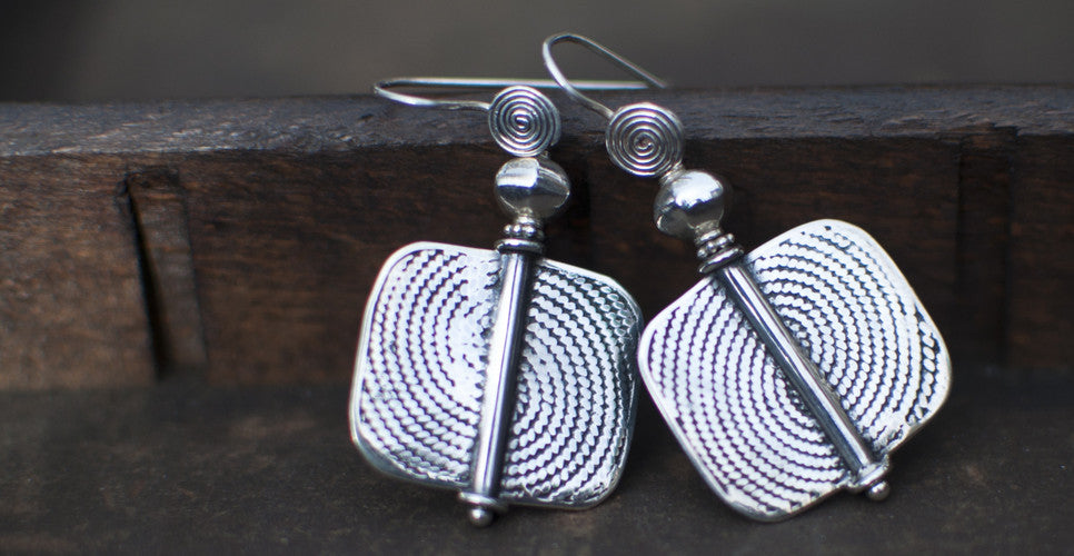 Sterling Silver Geometric West African Drop Earrings