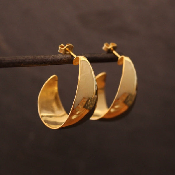 Gold Vermeil Curved Hoop Earrings