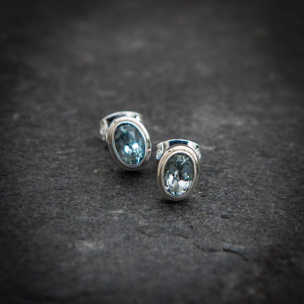 Blue Topaz and Sterling Silver Stud Earrings - Beyond Biasa