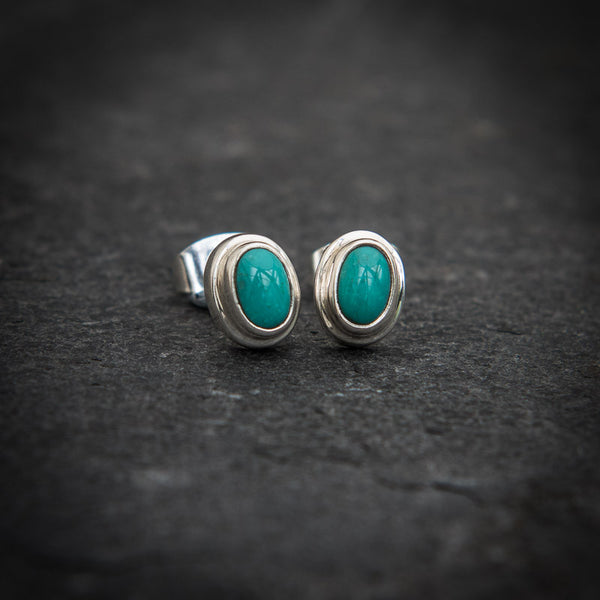 Turquoise and Sterling Silver Stud Earrings - Beyond Biasa