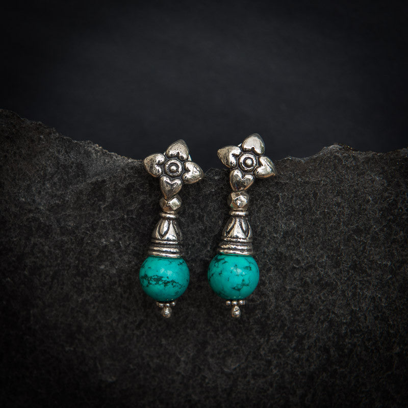 Turquoise and Sterling Silver Flower Flute Earrings - Beyond Biasa