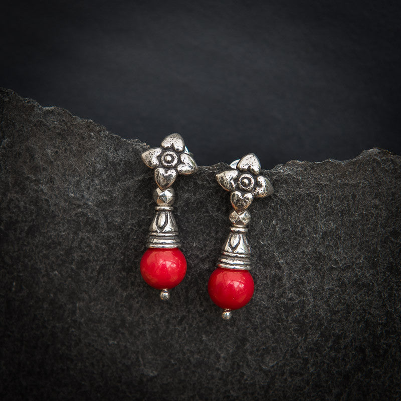 Red Bamboo Coral and Sterling Silver Flower Flute Earrings - Beyond Biasa