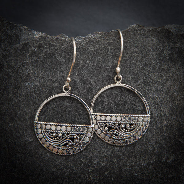 Filigree and Geometric Half Circle Sterling Silver Drop Earrings - Beyond Biasa