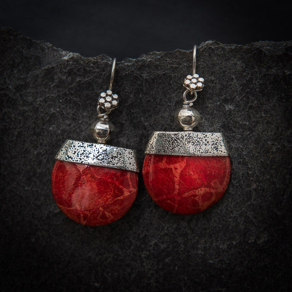Red Bamboo Coral and Sterling Silver Geometric Drop Earrings - Beyond Biasa