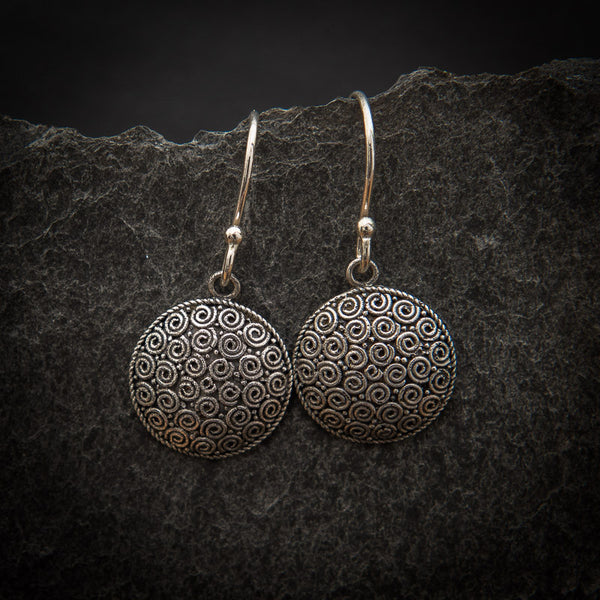 Sterling Silver Spiral Circle Drop Earrings - Beyond Biasa