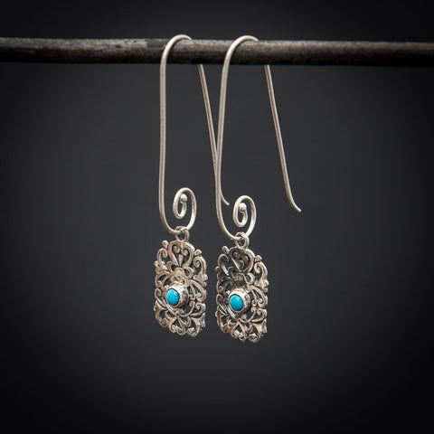 Turquoise and Sterling Silver Filigree Drop Earrings - Beyond Biasa