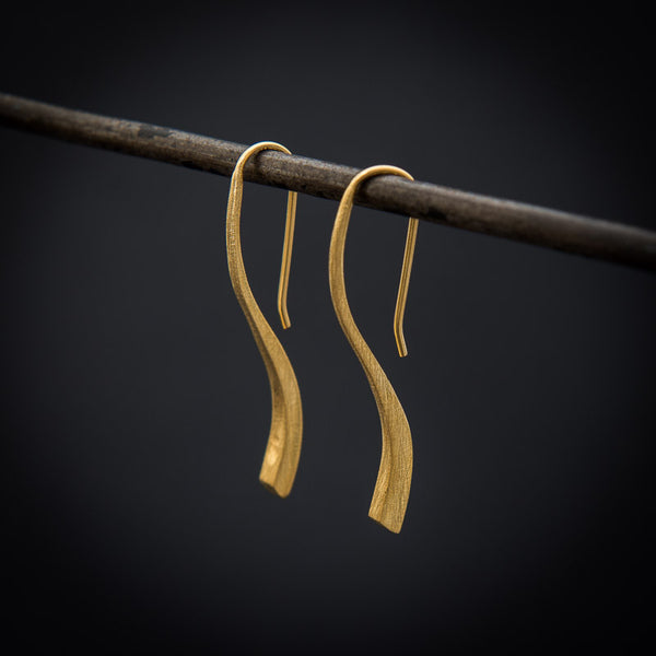 Brushed Sterling Silver or Gold Vermeil Mini 'Flick' Earrings - Beyond Biasa