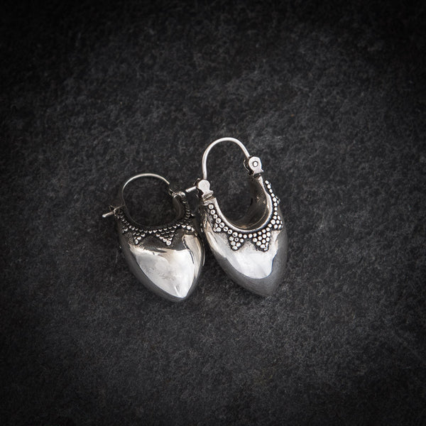 Granulation Sterling Silver Bucket Hoop Earrings - Beyond Biasa - 2
