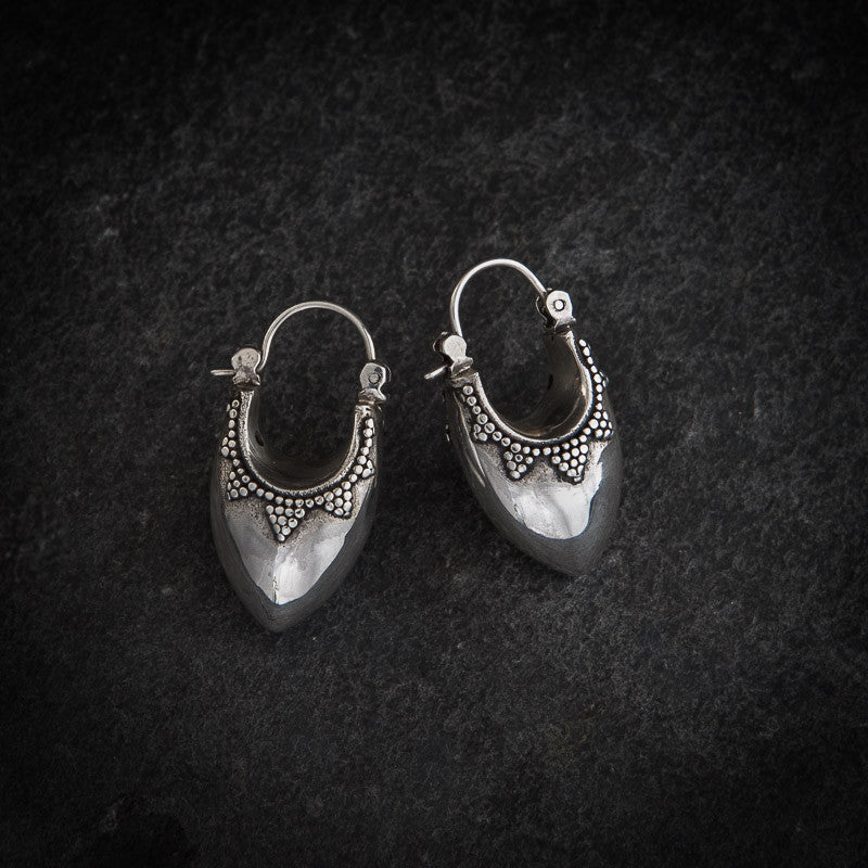 Granulation Sterling Silver Bucket Hoop Earrings - Beyond Biasa - 1