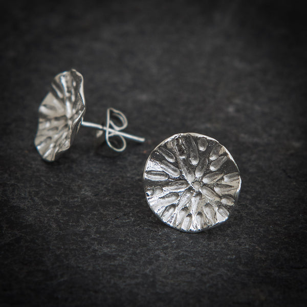 Sterling Silver Organic Circle Stud Earrings - Beyond Biasa