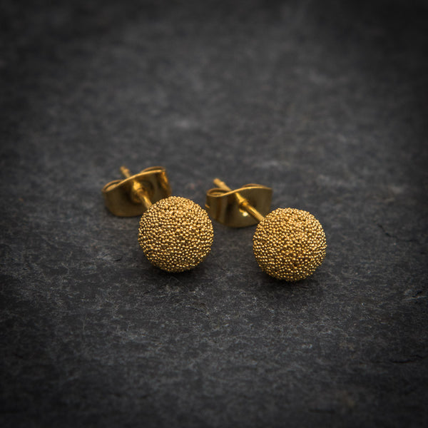 Granulation Ball Stud Earrings in Gold Vermeil - Beyond Biasa