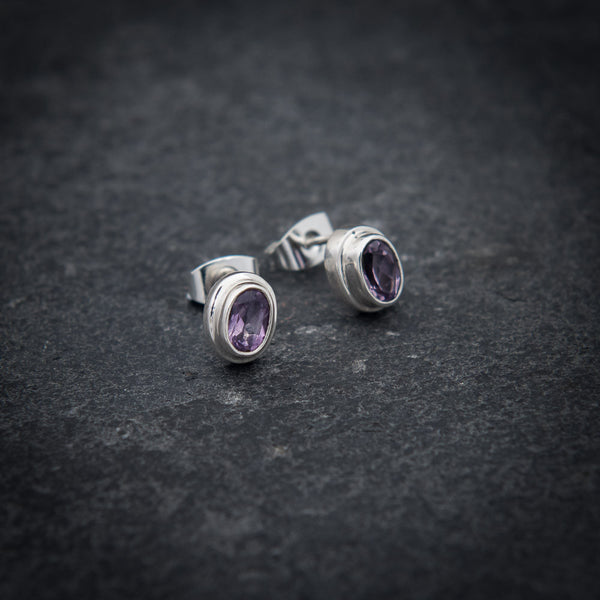 Amethyst and Sterling Silver Stud Earrings - Beyond Biasa