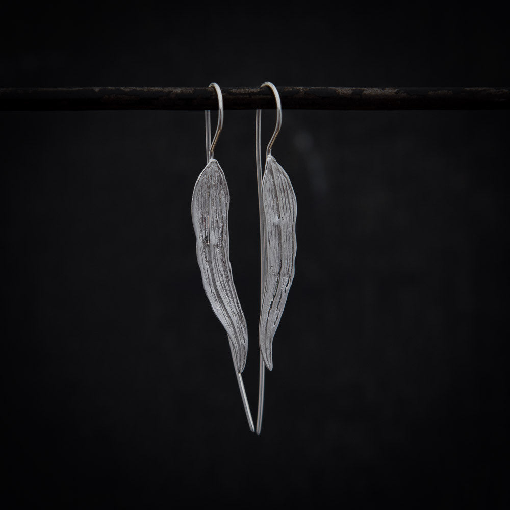 Long Leaf Earrings in Sterling Silver - Beyond Biasa