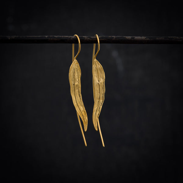 Long Leaf Earrings in Gold Vermeil - Beyond Biasa