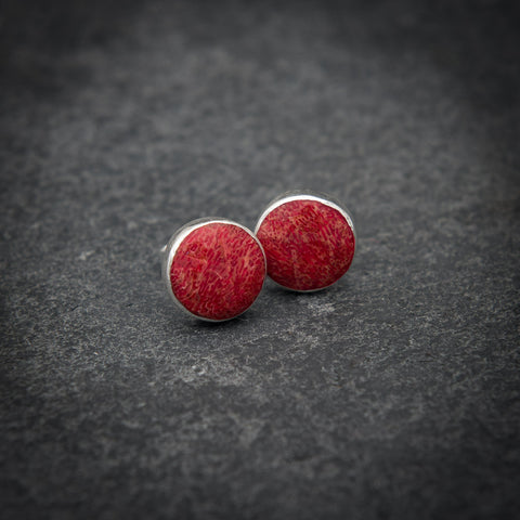 Red Bamboo Coral and Sterling Silver Round Stud Earrings
