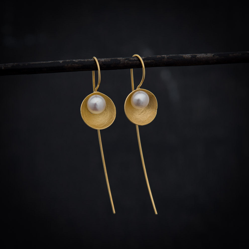 Freshwater Pearl Long Hook Earrings in Gold Vermeil - Beyond Biasa