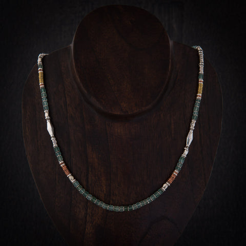 Green Glass Necklace with Sterling Silver Brass and Copper - Beyond Biasa