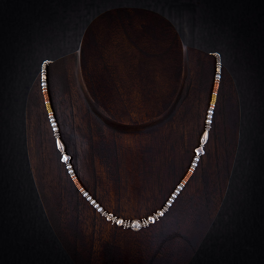 Freshwater Pearl and Sterling Silver Feature Bead Necklace with Brass and Copper - Beyond Biasa