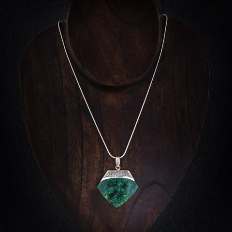 African Jade and Silver Granulation Pendant - Beyond Biasa