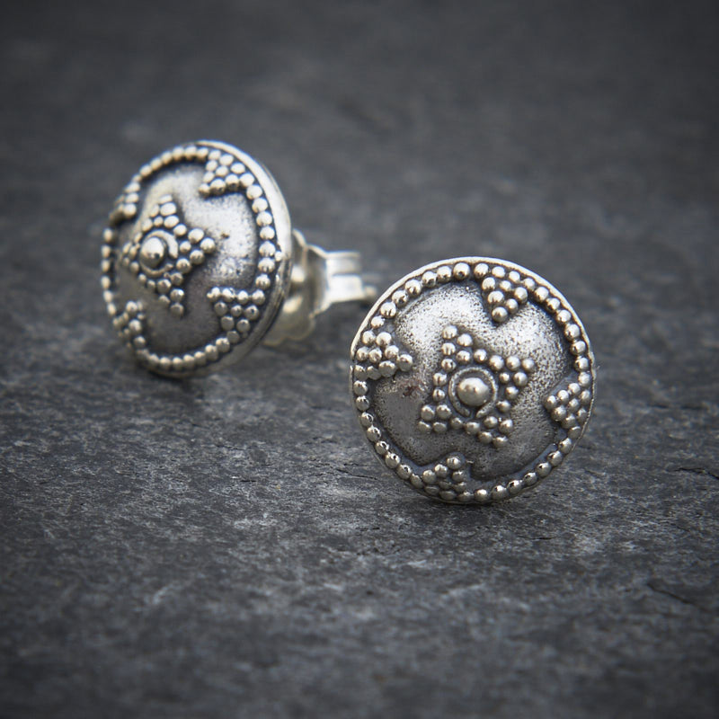 Round Sterling Silver Geometric Stud Earrings - Beyond Biasa