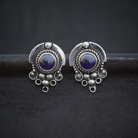 Amethyst and Sterling Silver Detail Stud Earrings - Beyond Biasa