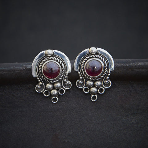 Garnet and Sterling Silver Detail Stud Earrings - Beyond Biasa