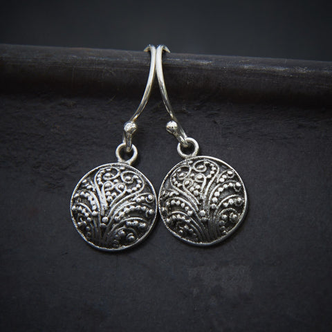 Sterling Silver Round Granulation Earrings - Beyond Biasa
