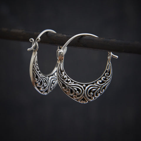 Sterling Silver Filigree Hoop Earrings - Beyond Biasa