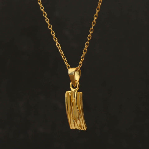 Gold Vermeil Textured Rectangle Pendant