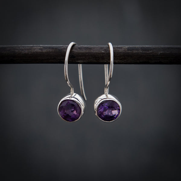 Amethyst and Sterling Silver Round Drop Earrings - Beyond Biasa