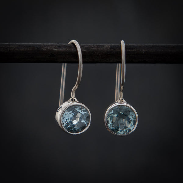 Blue Topaz and Sterling Silver Round Drop Earrings - Beyond Biasa