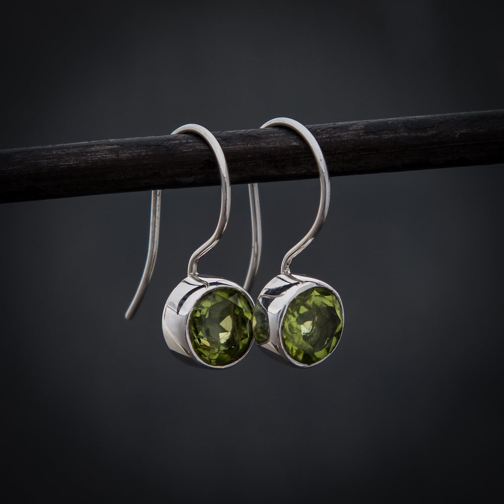 Peridot and Sterling Silver Round Drop Earrings - Beyond Biasa
