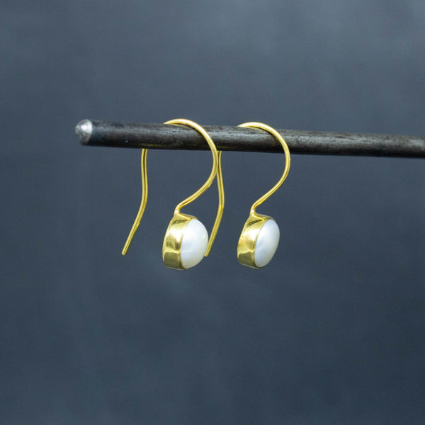 Freshwater Pearl and Gold Vermeil Round Drop Earrings