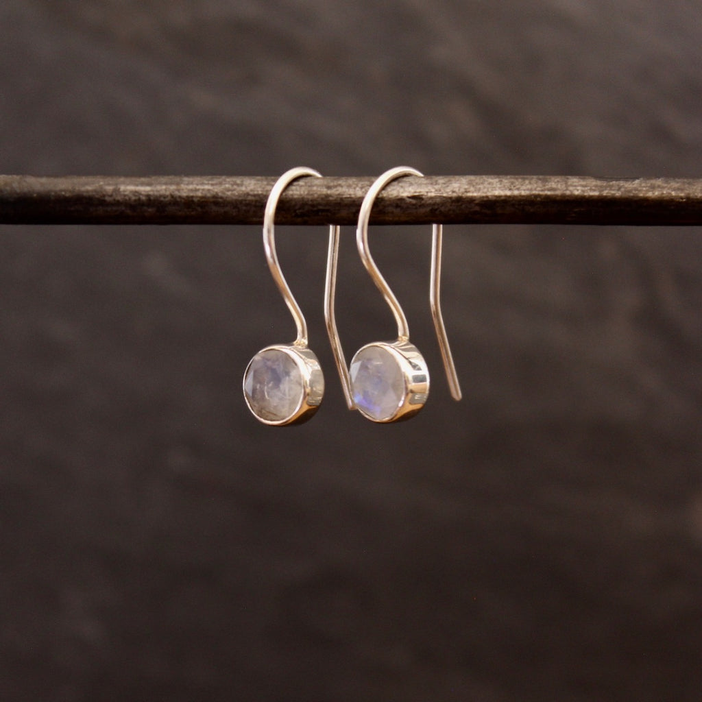Rainbow Moonstone and Sterling Silver Round Drop Earrings