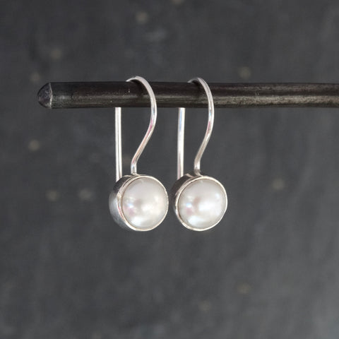 Freshwater Pearl and Sterling Silver Round Drop Earrings