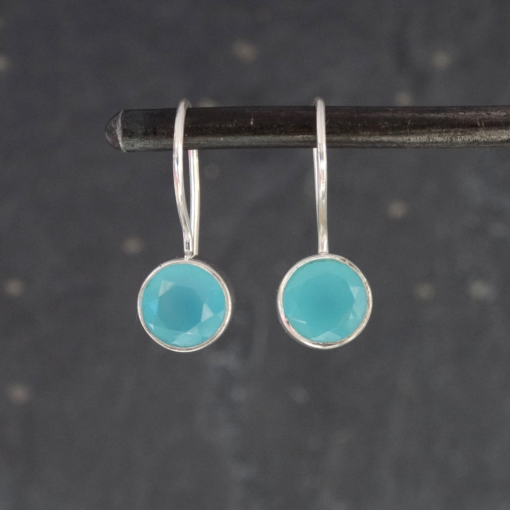 Aqua Chalcedony and Sterling Silver Round Drop Earrings - Beyond Biasa