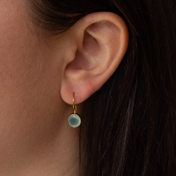 Aqua Chalcedony and Gold Vermeil Round Drop Earrings