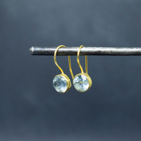Blue Topaz and Gold Vermeil Round Drop Earrings