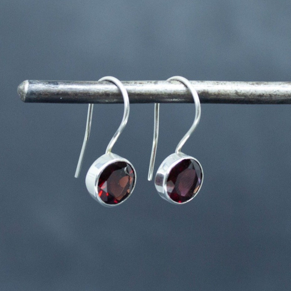 Garnet and Sterling Silver Round Drop Earrings