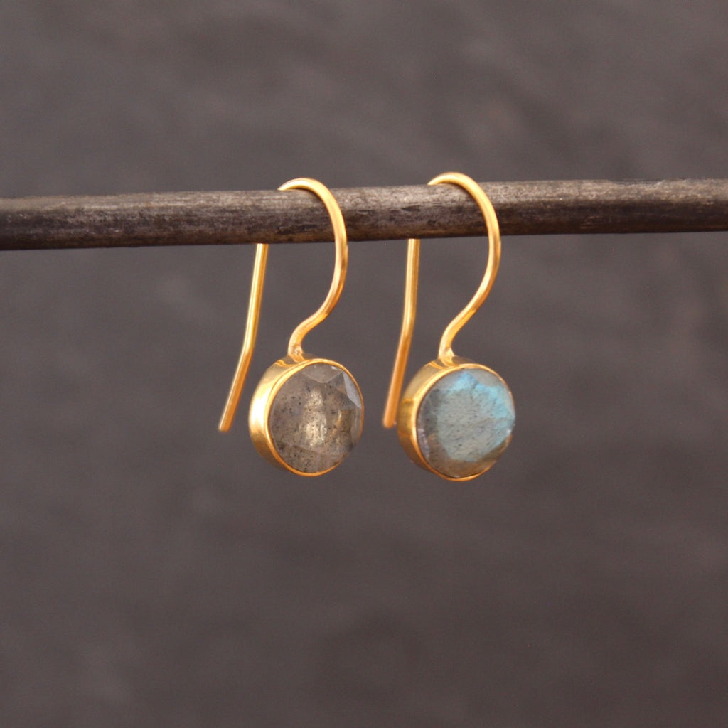 Labradorite and Gold Vermeil Round Drop Earrings