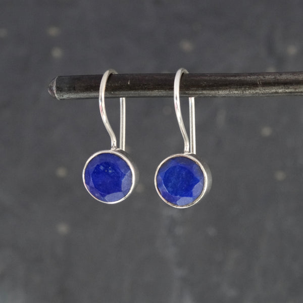 Lapis Lazuli and Sterling Silver Round Drop Earrings - Beyond Biasa