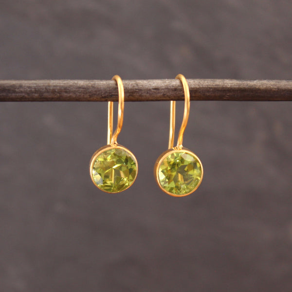 Peridot and Gold Vermeil Round Drop Earrings