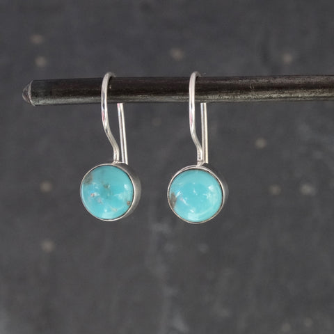 Turquoise and Sterling Silver Round Drop Earrings