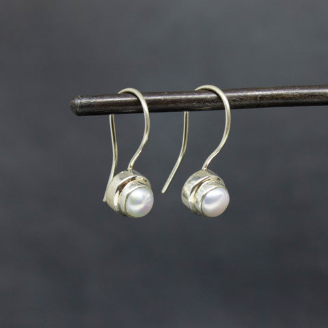 Freshwater Pearl and Silver Drop Earrings