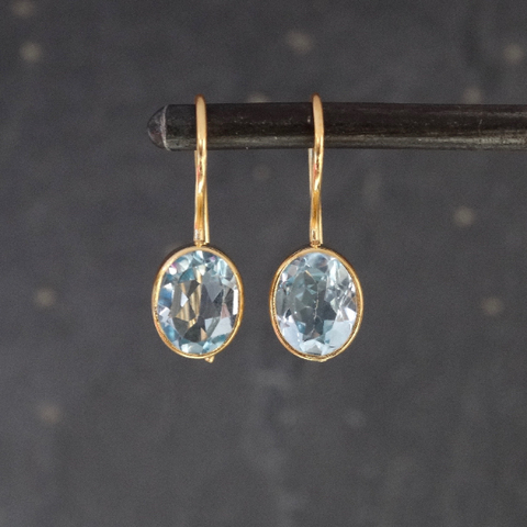 Faceted Blue Topaz and Gold Vermeil Drop Earrings