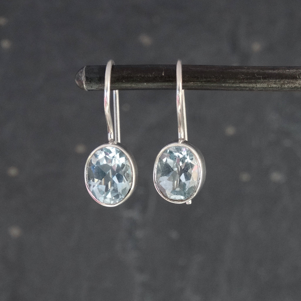 Faceted Blue Topaz and Sterling Silver Drop Earrings
