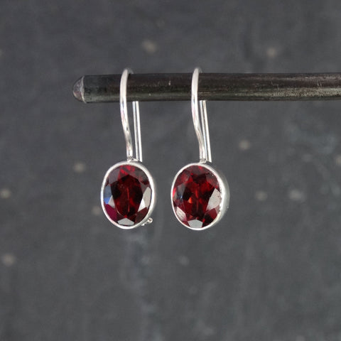 Faceted Garnet and Sterling Silver Drop Earrings