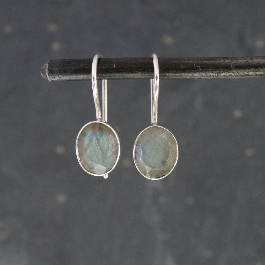 Faceted Labradorite and Sterling Silver Drop Earrings